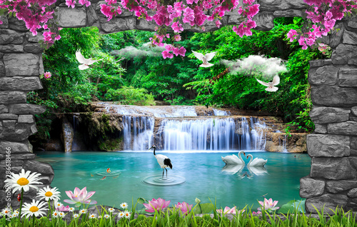 Recess Fitting Waterfalls 3d nature wallpaper and background stone brick