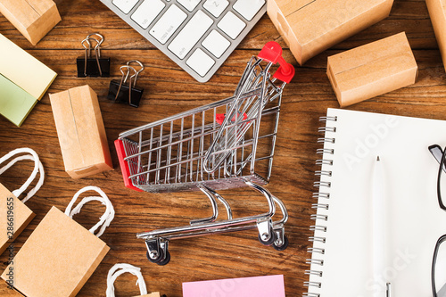 shopping online at home concept Wallpaper Mural
