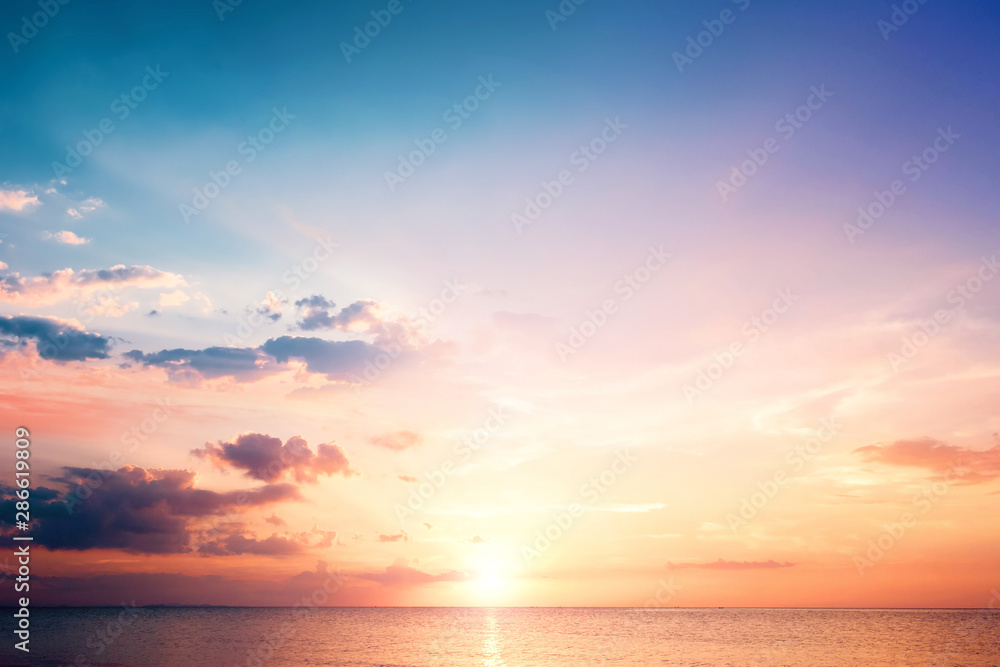 Fototapety, obrazy: Natural background concept: Sunset blue sky and clouds backgrounds