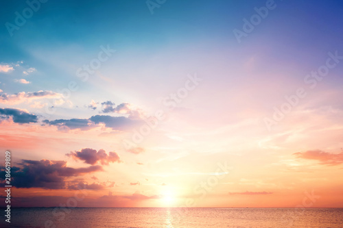 Natural background concept: Sunset blue sky and clouds backgrounds фототапет