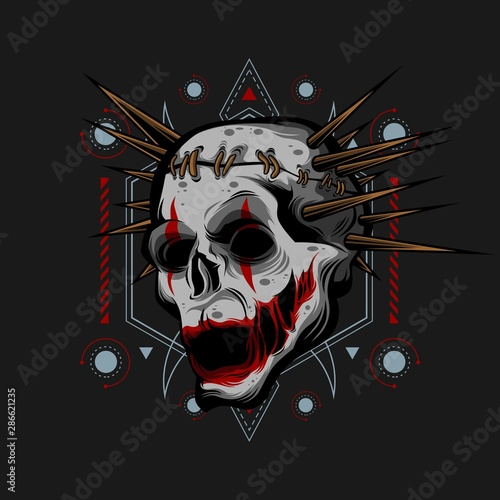 Tablou Canvas thorn head clown vector