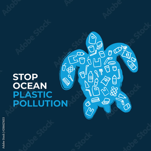 Stop ocean plastic pollution Wallpaper Mural