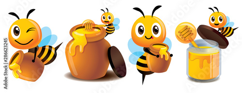 Photo Cartoon cute bee mascot set