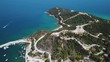 Aerial view of island with mountain top, beach, Halkidiki, Greece