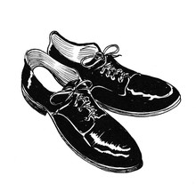A Pair Of Male Classic Shoes. Ink Black And White Drawing