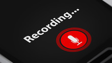 Voice Recording App With Microphone Symbol On Smart Phone.