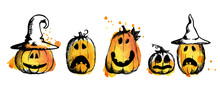 Halloween Pumpkin By Hand Draw...