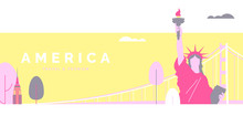 United States Of America Travel And Tourism Poster Design, Pastel Theme