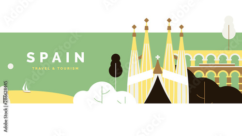 Foto auf Leinwand Olivgrun Spain travel and tourism poster design, pastel theme