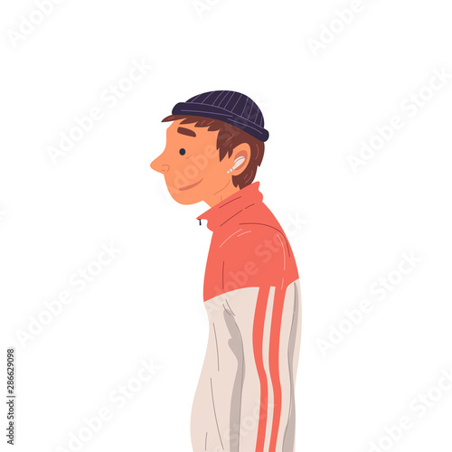 Guy Wearing Sports Suit and Knitted Hat Side View Vector Illustration True Style Canvas Print