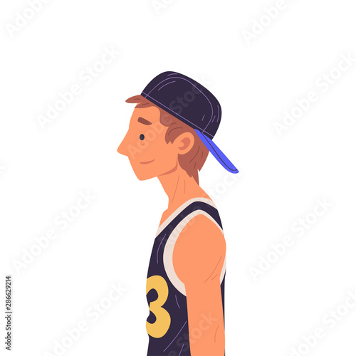 Young Man in Baseball Cap Side View Vector Illustration True Style Wallpaper Mural