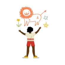 Cute African American Boy Drawing Lion On Wall, View From Behind Vector Illustration