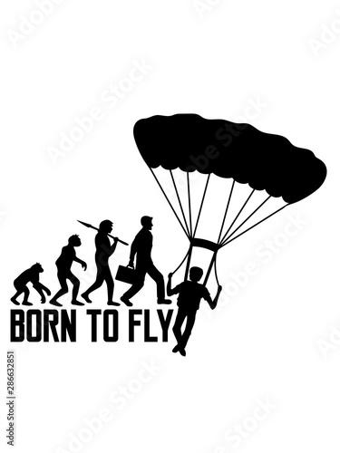 Fototapeta fallschirmspringer born to fly evolution silhouette liebe springen logo hobby ge