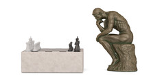 Copper Thinker And Chess Isolated On White Background 3D Illustration.