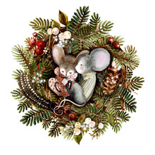 A Family Of Mice Sleeping In A Christmas Festive Wreath, A Nest Of Natural Materials, Branches, Spruce, Feathers, Berries. Symbol Of 2020. Watercolor Illustration, Handmade
