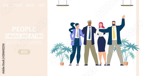 Photo  Businesspeople Communication Vector Web Banner