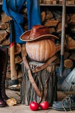 Autumn Mood. Pumpkin, Stump, Tool, Wood, Hat, On Veranda