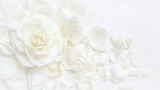 Fototapeta Kwiaty - Beautiful white rose and petals on white background. Ideal for greeting cards for wedding, birthday, Valentine's Day, Mother's Day