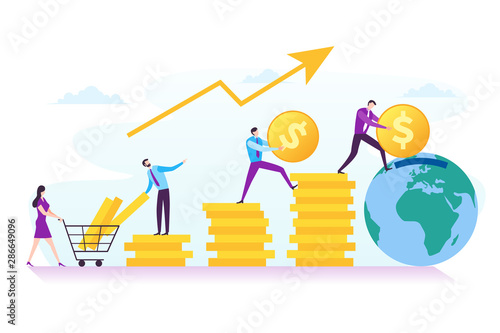 Fototapeta Illustration of business investment, financial, and teamwork concept in modern flat design. Illustration for landing page, web page, business presentation, marketing material and infographic obraz