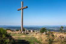 Wood Cross Dominating The Landscape, Mont Pilat, France
