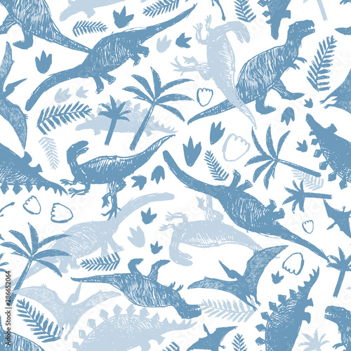 Vector light blue and white dinosaur sketch repeat pattern with chaotic arrangement Canvas Print