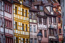 Nuremberg, Germany Christmas Decorated Half-timbered Houses In Bavaria