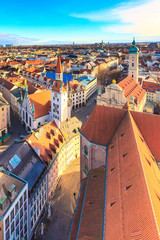 Fototapeta na wymiar Aerial panoramic view and city skyline in Munich, Germany