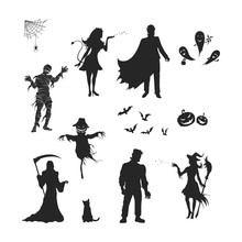 Black Silhouettes Of Halloween...
