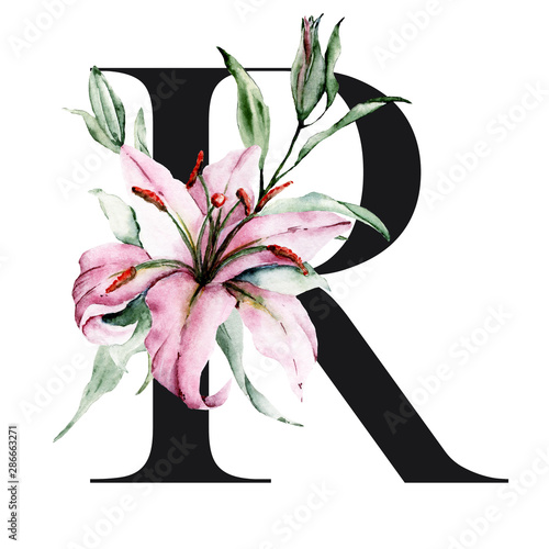 Floral alphabet, letter R with watercolor flowers lilies and leaves.  Monogram initials perfectly for wedding invitation, birthday, greeting  card, logo and other. Holiday design hand painting. - Buy this stock  illustration and