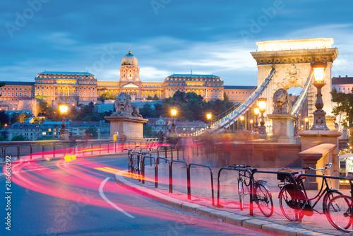 Foto auf Leinwand Budapest Royal Palace and Chain bridge in Budapest at night
