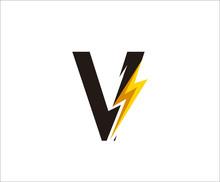 Thunder V Letter Icon,  Flash ...