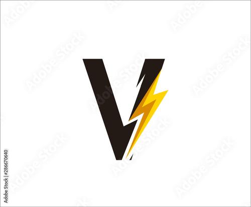 Obraz Thunder V Letter icon,  flash V logo icon - fototapety do salonu