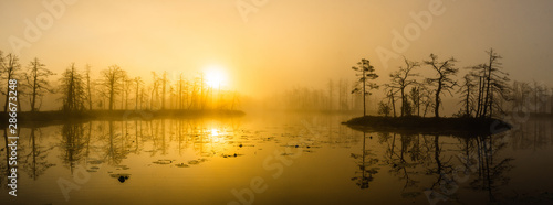 Fototapeta  Landscape of misty sunset over the swamp. Reflection in water.