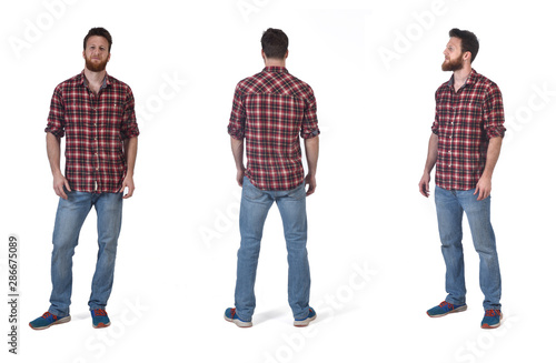 Fototapeta front, back and  profile with a man with  plaid shirt on white background obraz