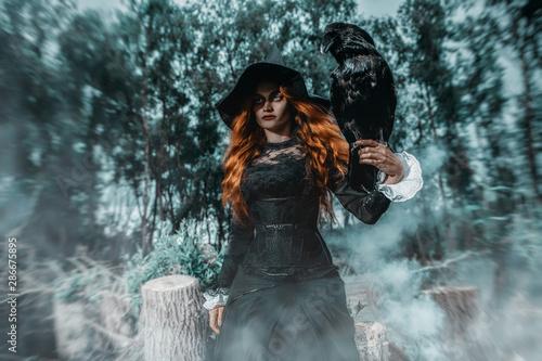 Deurstickers Hoogte schaal raven and witch