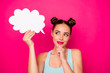 canvas print picture - Close up photo of pretty girl holding paper card cloud touching her chin looking having thoughts isolated over fuchsia background