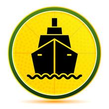Ship Icon Lemon Lime Yellow Round Button Illustration