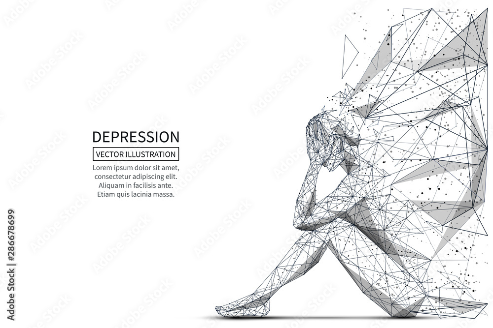 Fototapeta Depression low poly banner template. 3d polygonal woman. Depressed sitting girl, psychological disease concept art with connected dots and lines. Lonely person vector color wireframe mesh illustration