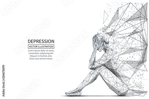 Stampa su Tela Depression low poly banner template