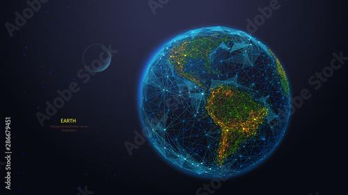 Obraz na plátně Earth globe low poly art illustration