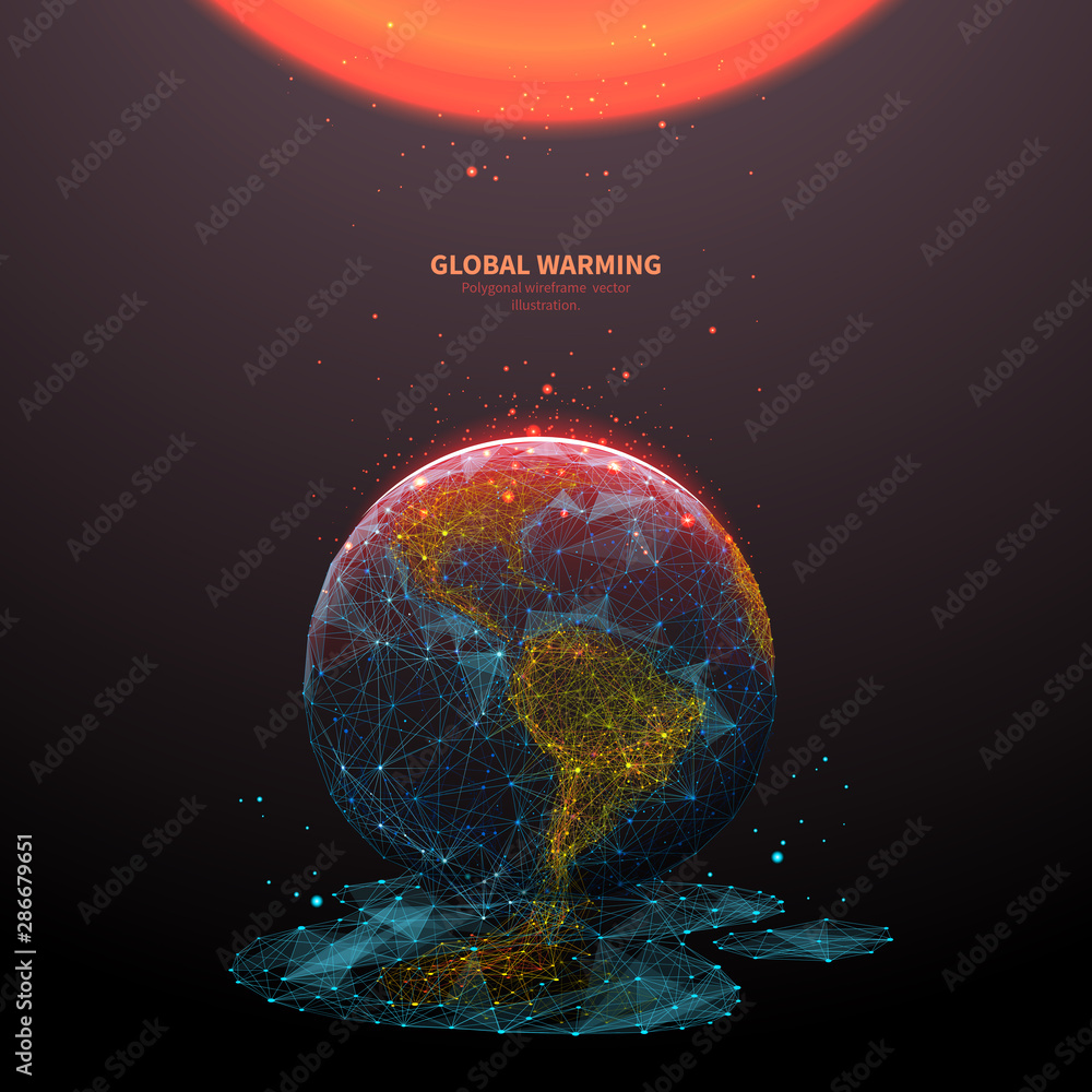 Fototapeta Global warming low poly banner template. 3d polygonal melting earth planet. Ecological problem concept with connected dots and lines. Environmental disaster vector color wireframe mesh illustration