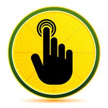 Hand Cursor Click Icon Lemon Lime Yellow Round Button Illustration
