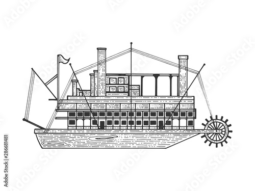 Obraz na plátně Vintage steam ship boat sketch engraving vector illustration