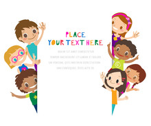 Group Of Children Waving. Kids Waving Their Hands. Cartoon Illustration On White Background, Copy Space For Text.