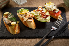 Set Of Crostini With Fish And ...
