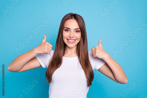 Fotomural Portrait of nice-looking attractive lovely fascinating cheerful cheery confident