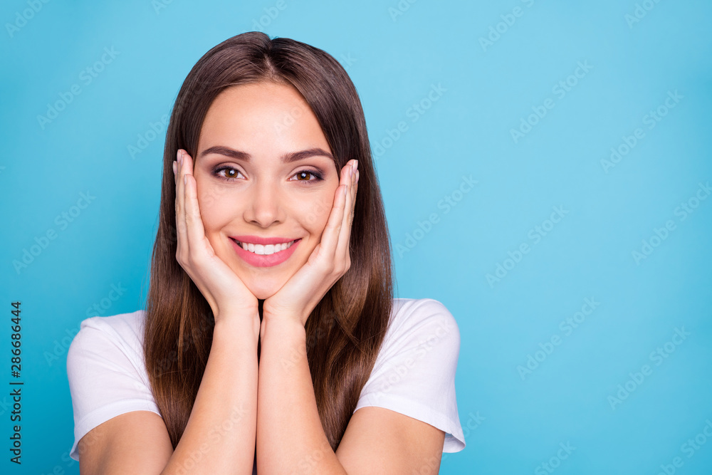 Fototapety, obrazy: Close-up portrait of her she nice-looking attractive lovable gorgeous cheerful cheery straight-haired lady enjoying holiday isolated over bright vivid shine blue green teal turquoise background