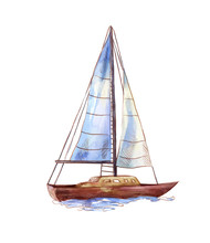 Vector Watercolor Sailboat Isolated On White. Seascape Scene In Sketch Style