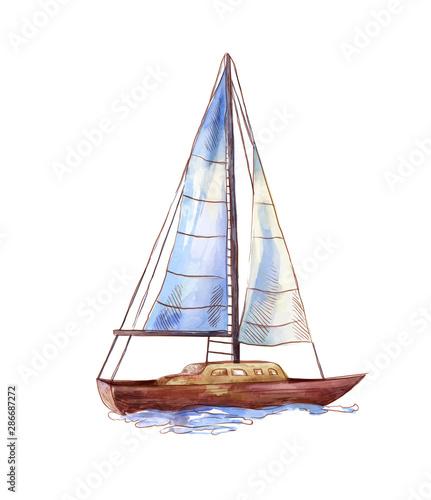 Fotografia Vector watercolor sailboat isolated on white