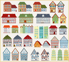 Set Of Vector Houses And Buildings In European Style On A Light Background.European Architecture.